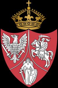 Herb powstańczy Polska (Orzeł Biały), Litwa (Pogoń) i Ruś (Michał Archanioł)