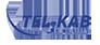 Niebieski napis Tel-Kab. Logo telewizji pruszkowskiej Tel-Kab. Link otworzy się w nowym oknie.