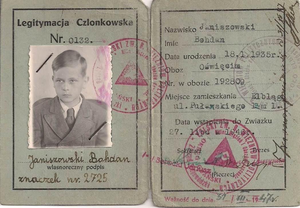 Legitymacja Bohdana wydana przez Polski Związek Więźniów Politycznych, 1946 r.