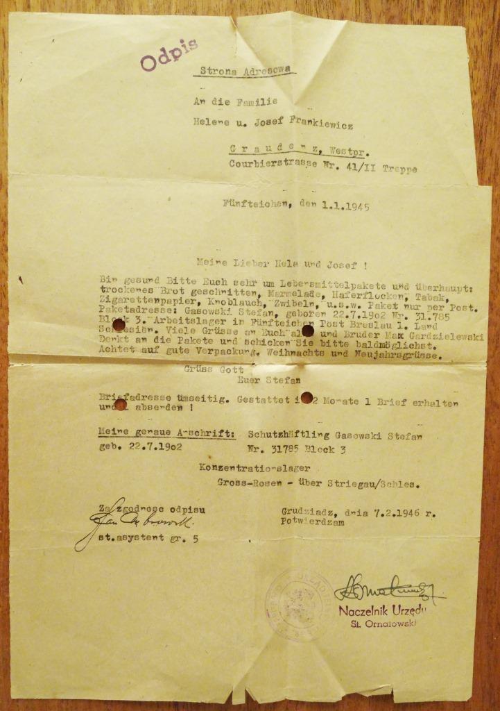 Powojenny odpis listu Stefana Gąsowskiego, męża Charlotty Bronisławy Gasowskiej, uczestnika Powstania Warszawskiego, który został osadzony w obozie koncentracyjnym Gross-Rosen, gdzie zmarł. Zbiory H. Augustyniak