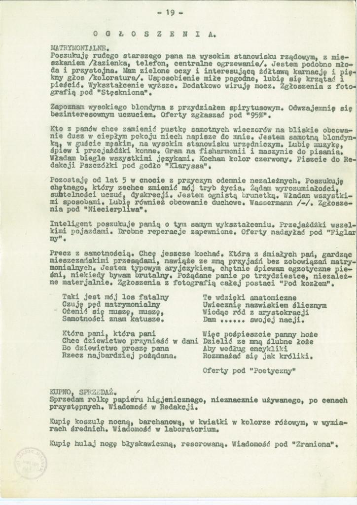 """""""Wesoła Pszczółka. Periodyk poświęcony wszystkim zagadnieniom"""", numer 1 z 31 grudnia 1944 r., humorystyczne pismo wydawane w filii Szpitala Wolskiego w Pszczelinie. Zbiory Muzeum Dulag 121 / dar Olgi Johann."""